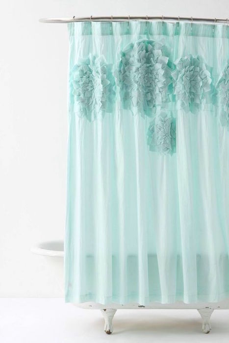 Anthropologie Blue Mums Shower Curtain