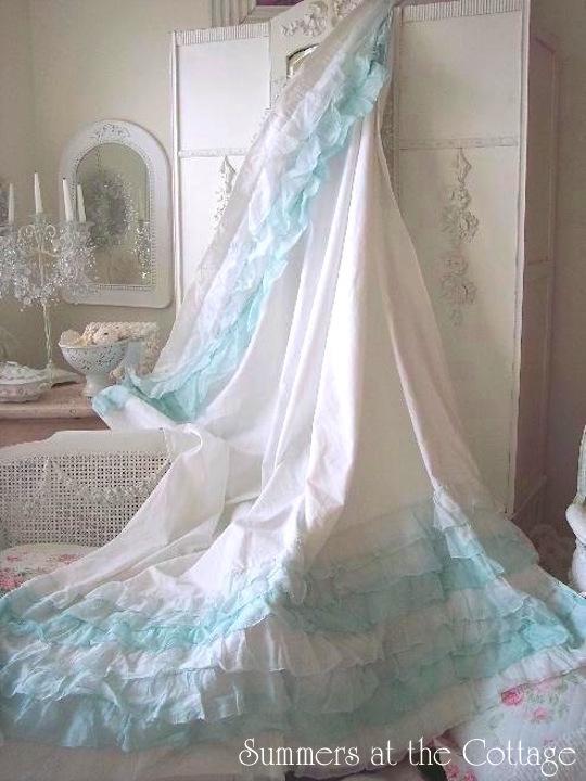 Aqua ruffled shower curtain