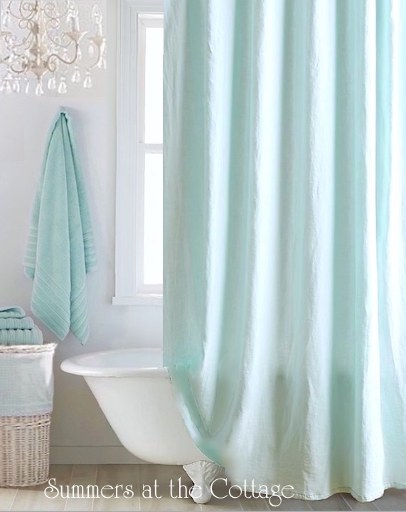 Anthropologie Linen Shower Curtain Aqua Caribbean Blue