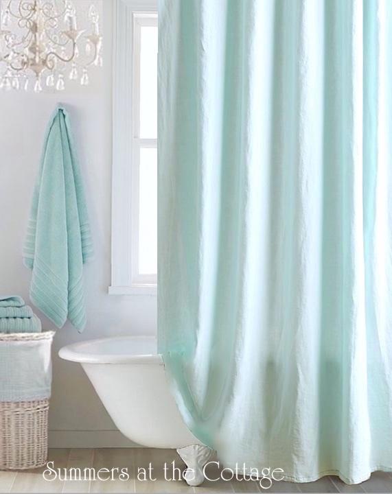 Anthropologie Blue Linen Shower Curtain