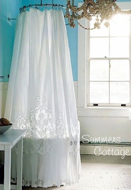 ANTHROPOLOGIE MADELEINE WHITE FRENCH LACE NETTING RUFFLE SHOWER CURTAIN