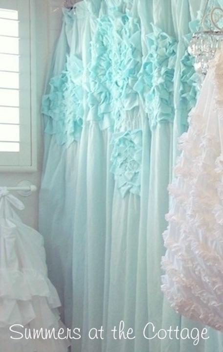 Anthropologie Aqua Mint Ruffled Mums Flowers Shower Curtain