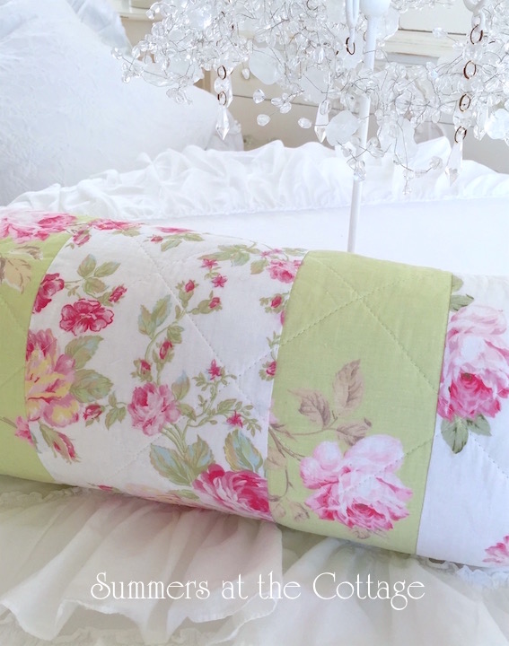 Patchwork Peony Roses Apple Green Pillow