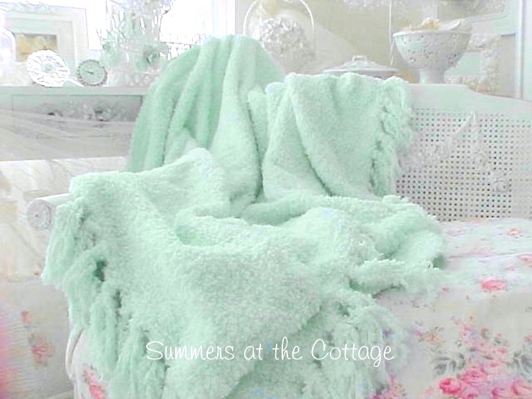 Aqua Chenille Fringe Throw Blanket