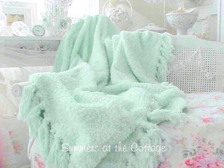 Shabby Cottage Aqua Throw Blanket Chic Fringe Cozy For
