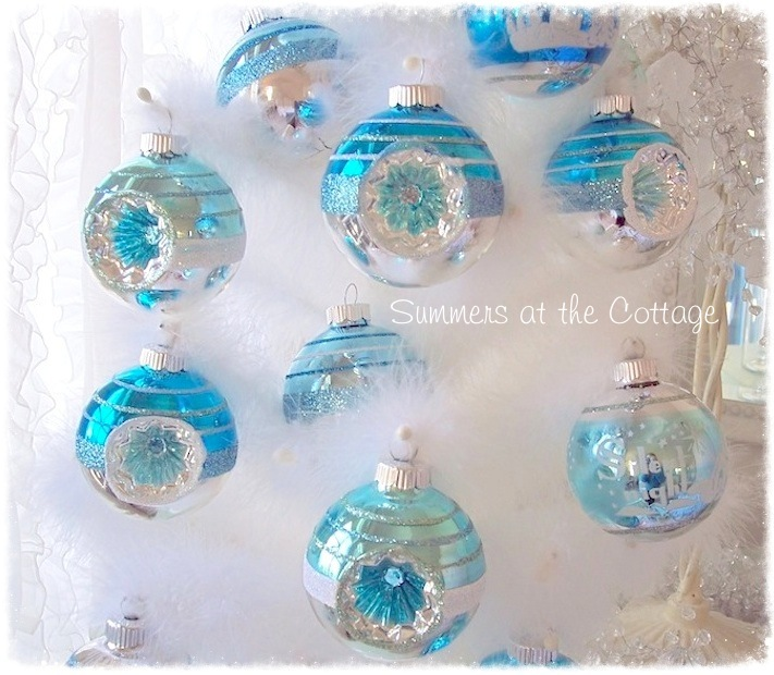 AQUA BLUE GLASS CHRISTMAS TREE ORNAMENT WHITE FROSTED DESIGN