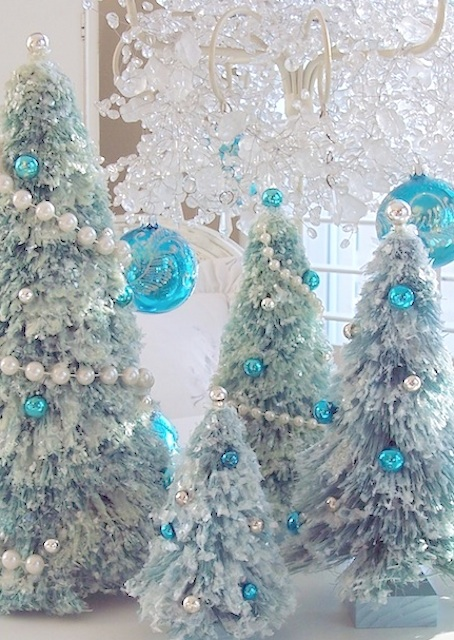 vintage pink glass christmas ornaments bottle brush tree chandelier garland romantic homes crystal prisms white feather christmas tree - Glass Christmas Trees