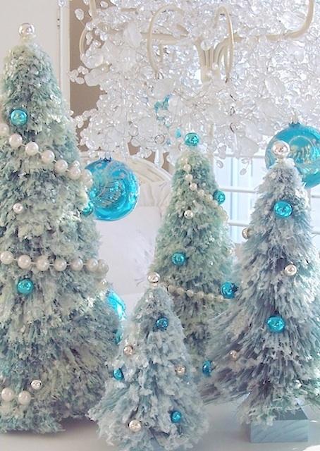 Vintage Pink Glass Christmas Ornaments, Bottle Brush Tree ...