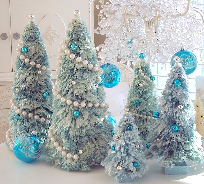 Pearl Garland For Christmas Tree: Vintage Pink Glass Christmas Ornaments, Bottle Brush Tree