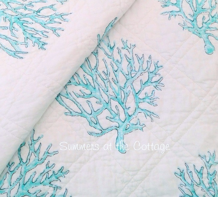Beach House Aqua Coastal Reef Pillow Shams