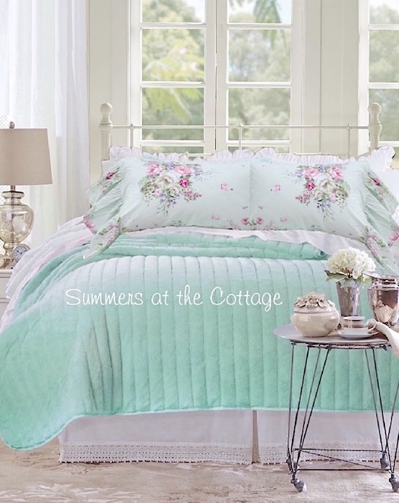Aqua Sea Glass Pink Roses Bedding