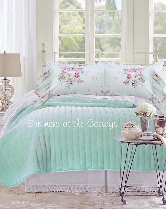 Aqua Sea Glass Pink Roses Bedding