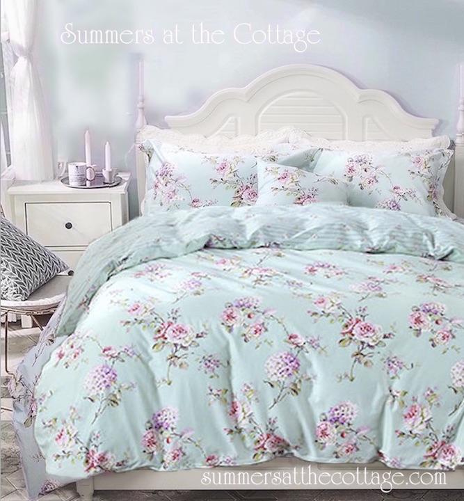 Aqua Mint Pink Vintage Roses Duvet, Pink And Mint Twin Bedding