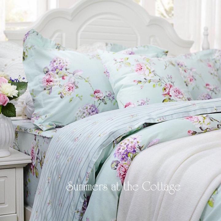Aqua Mint Vintage Roses Bedding