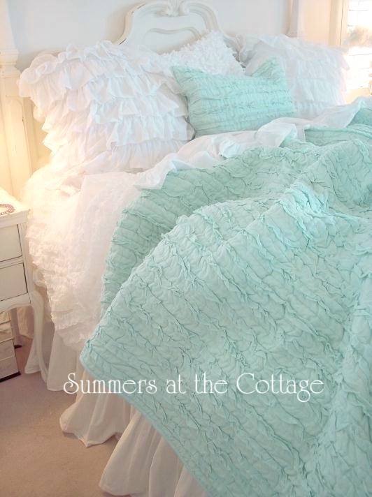 Aqua Mint Rag Ruffled Quilt Set