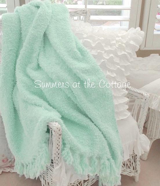 Mint Chenille Fringe Throw Blanket
