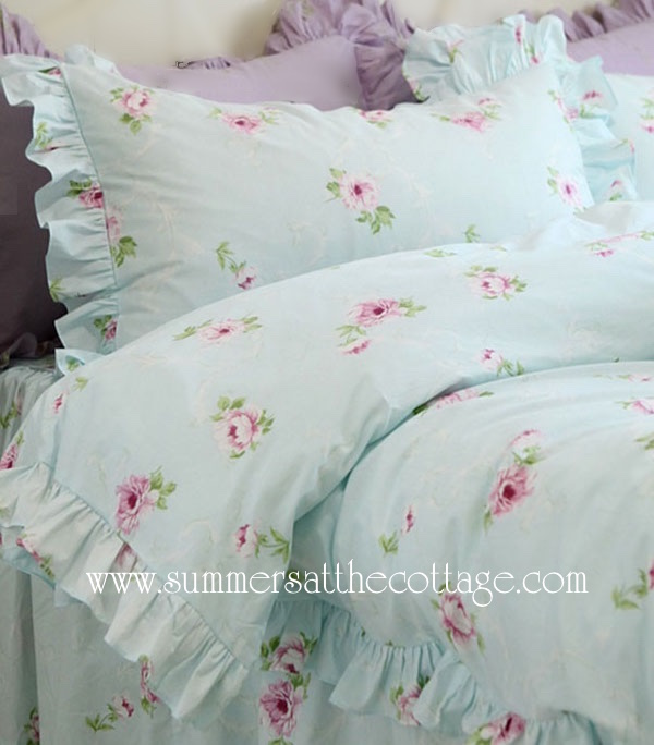 Aqua Mist Lavender Peony Roses Bedding