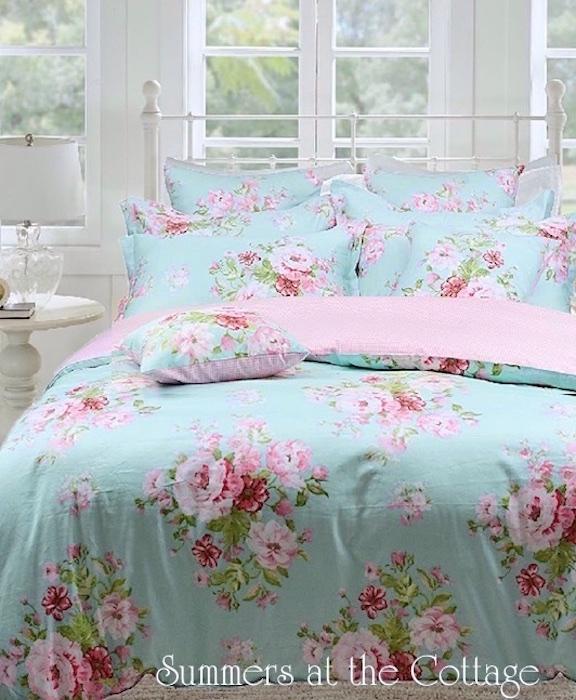 Aqua Blue Pink Roses Beach House Duvet Set