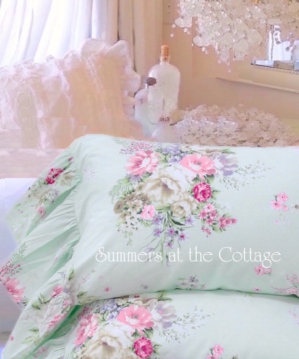 Aqua Mint Pink Roses Ruffle Pillowcases