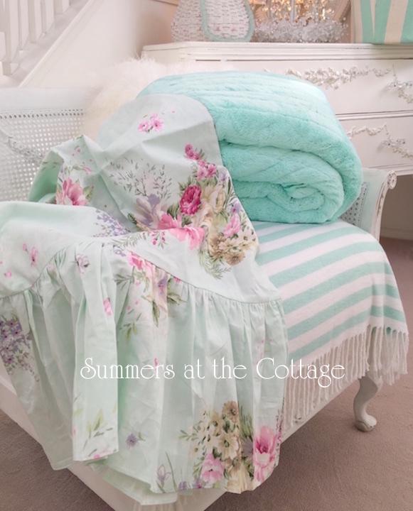 Aqua Mint Pink Roses Ruffle Pillowcases