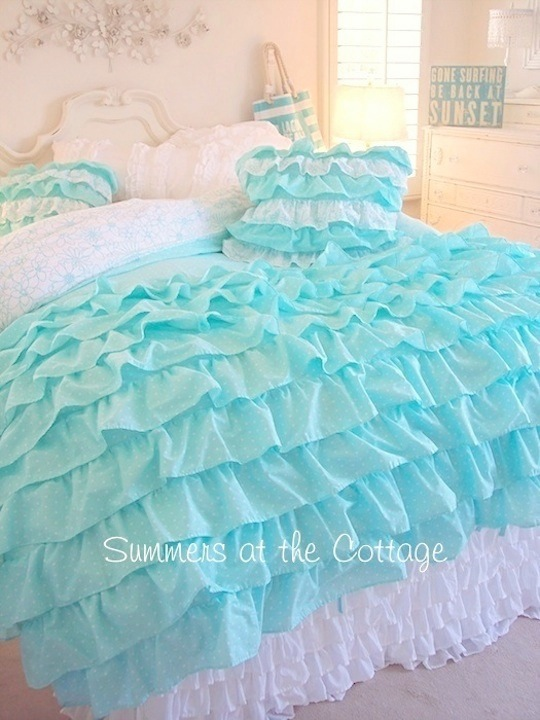 Shabby Cottage Chic Layers Of Dreamy Aqua Ruffles