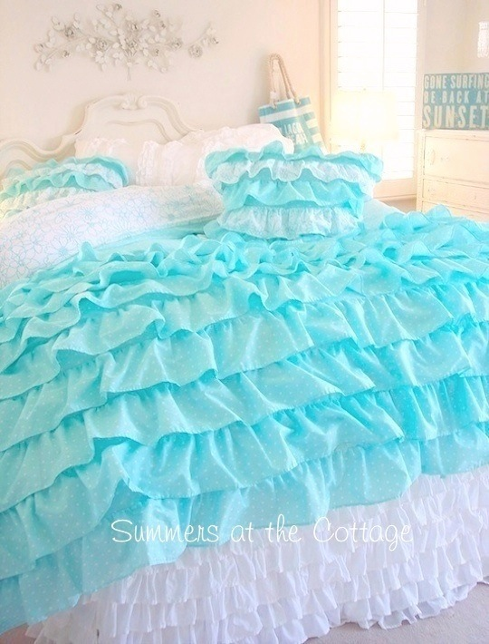 Shabby cottage chic layers of dreamy aqua ruffles for Frilly bedspreads