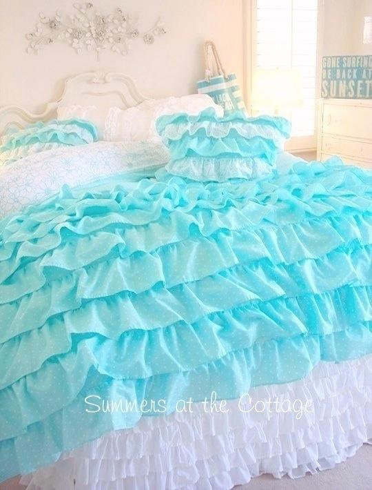 Aqua Polka Dot Duvet Comforter Cover Set