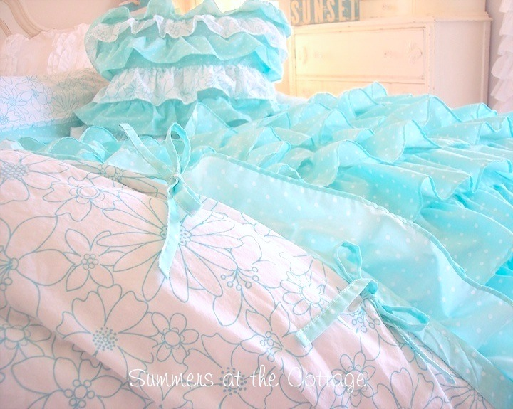 Beach Girl Ruffled Duvet Set
