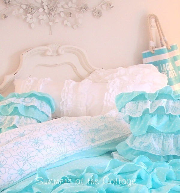 White and Aqua Ruffles