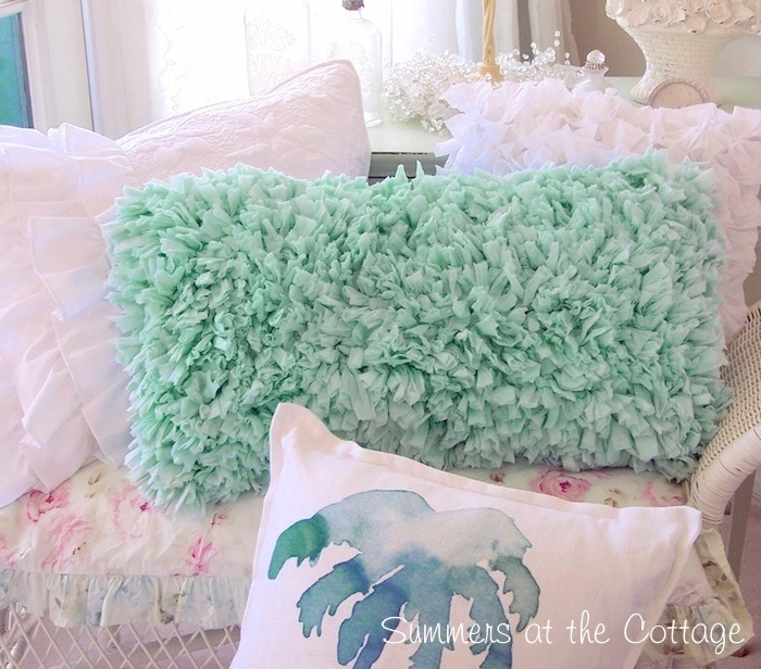 Aqua Beach Rag Ruffle Pillow