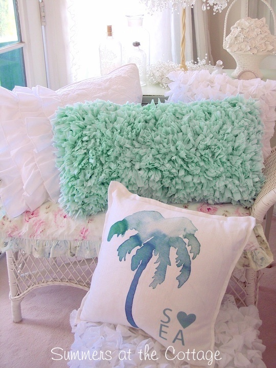 Aqua Beach Rag Rug Pillow