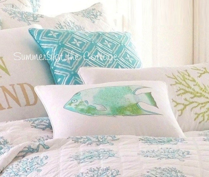 Beach House Tropical Island Fish Pillow