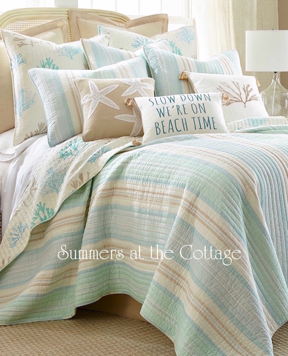 Sea Glass Reef Cabana Stripes Taupe Coastal Bedding