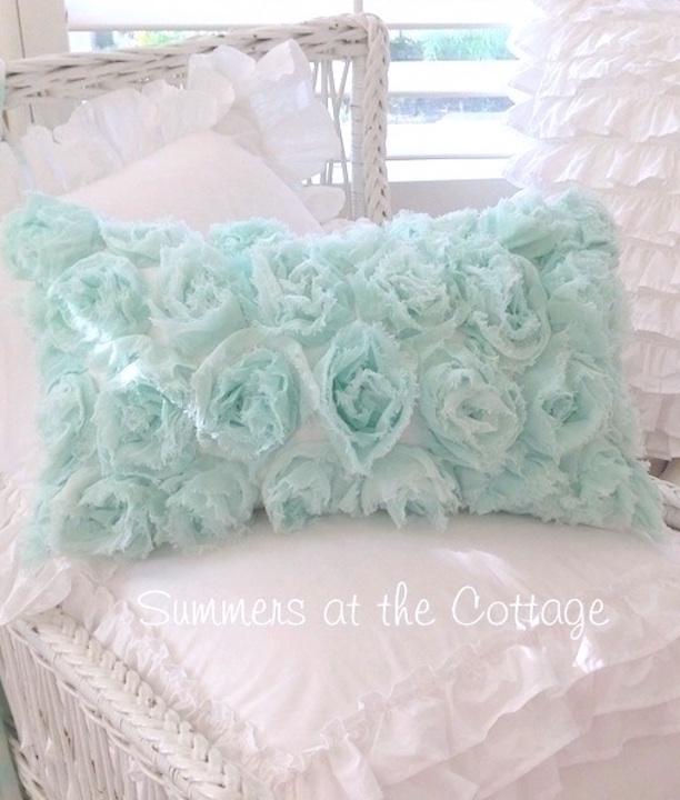 Dreamy Aqua Ruffled Comforter