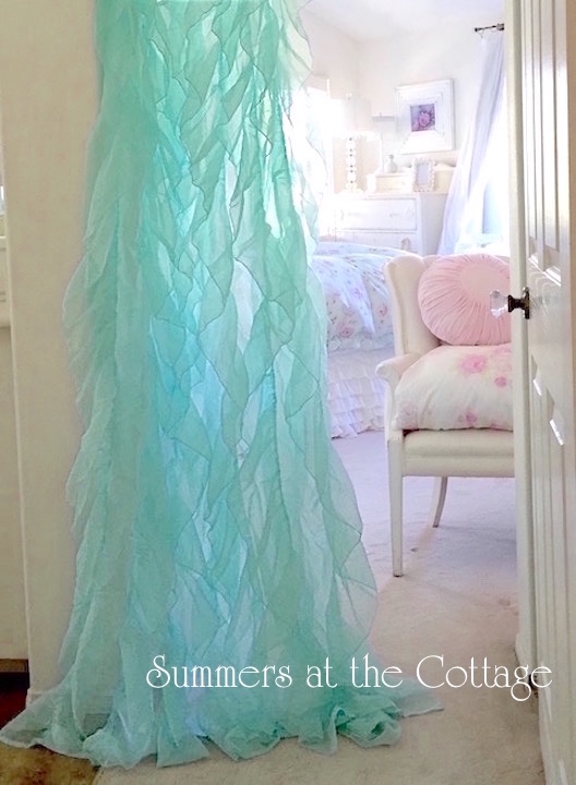 Aqua Ruffles Curtain Drapes