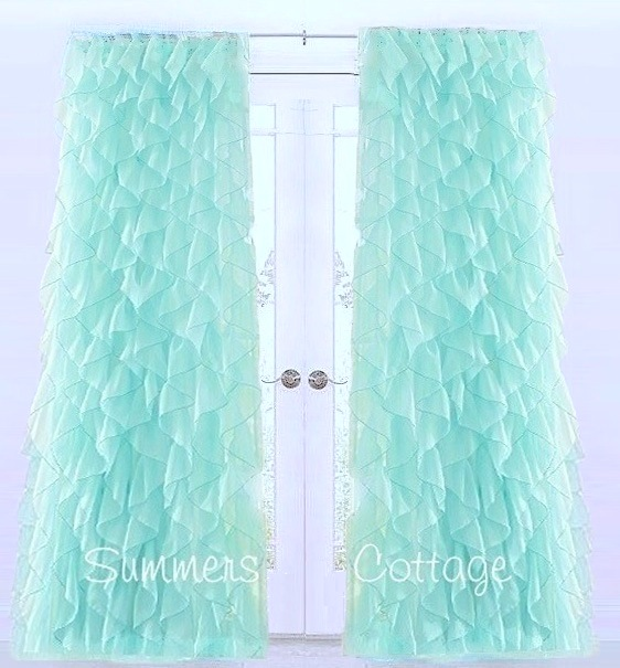 Sea Glass Ruffles Curtains Drapes