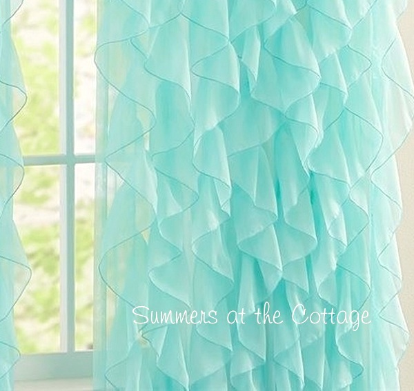 Aqua Ruffled Drape Panel