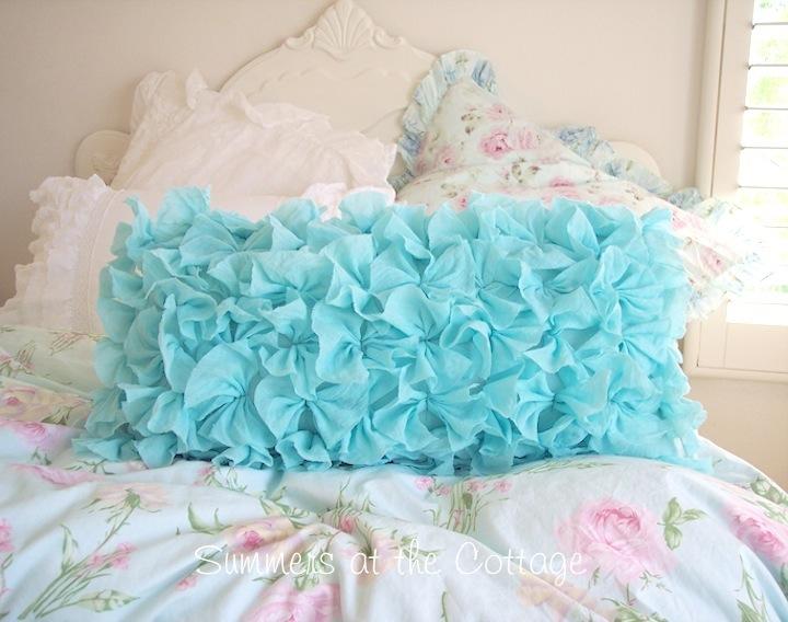 Fluffy Aqua Ruffled Pillow