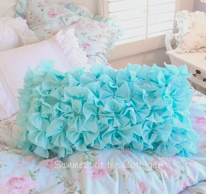Aqua Rag Ruffles Long Pillow