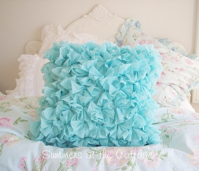 Aqua Ruffles Beach House Pillow