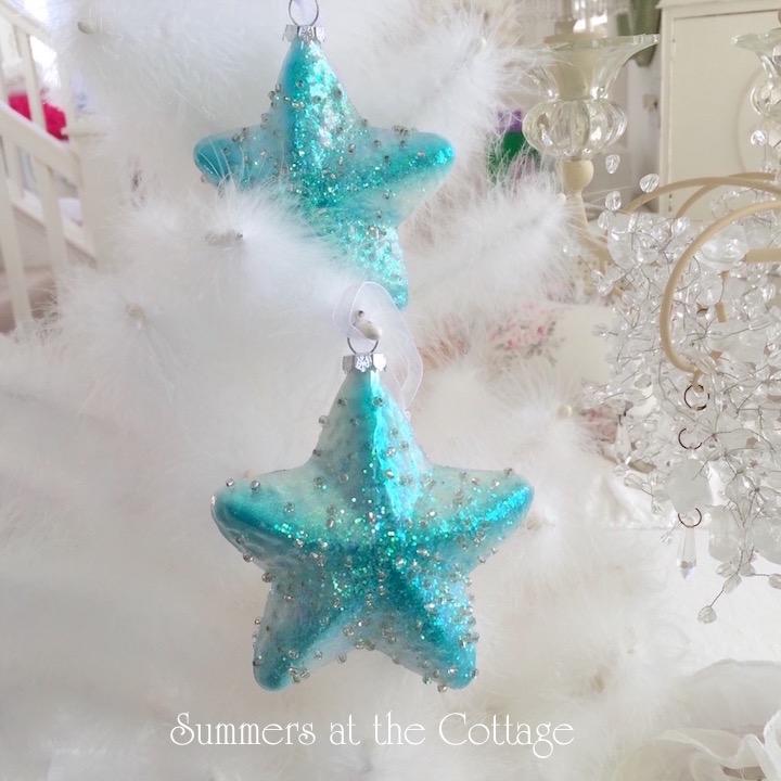 Coastal Aqua Turquoise Starfish Ornament