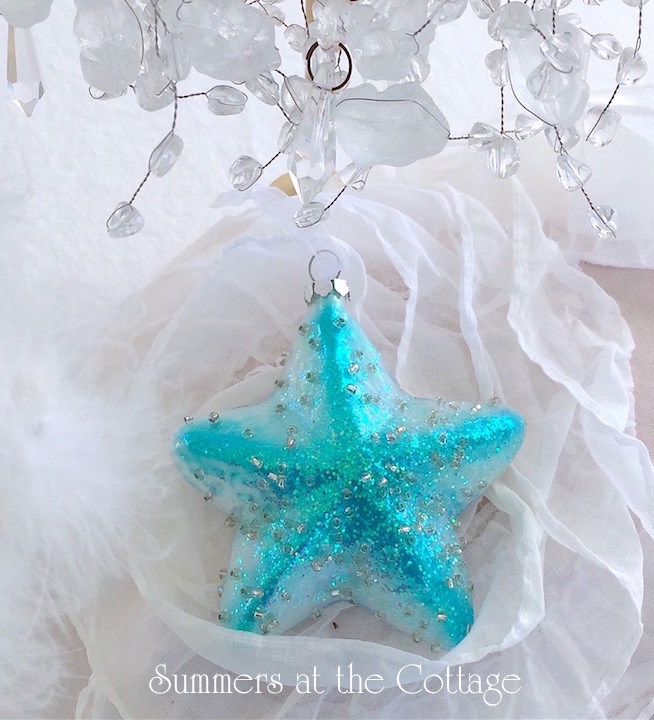 Shiny Glass Aqua Star Christmas Ornament
