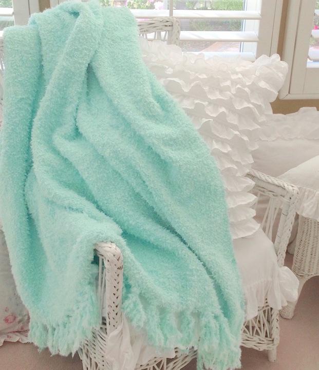 Aqua Chenille Fringe Throw Blanket