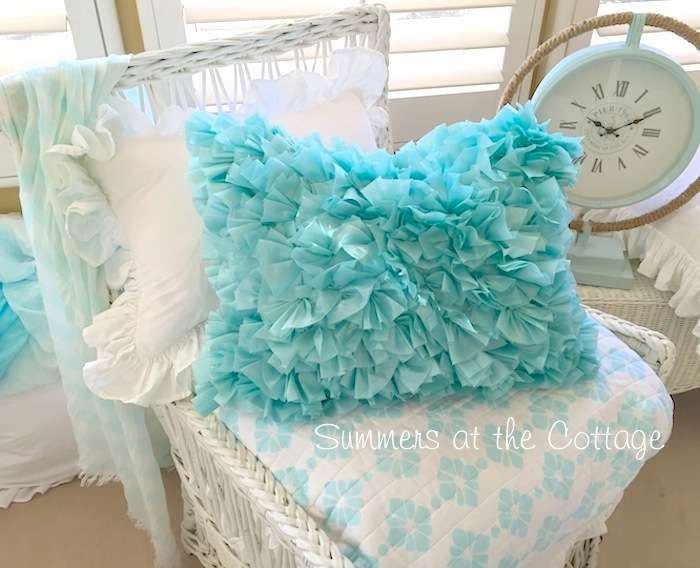 Turquoise Satin Ruffled Pillow