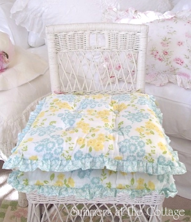 Yellow Aqua Flowers Ruffled Chair Cushions
