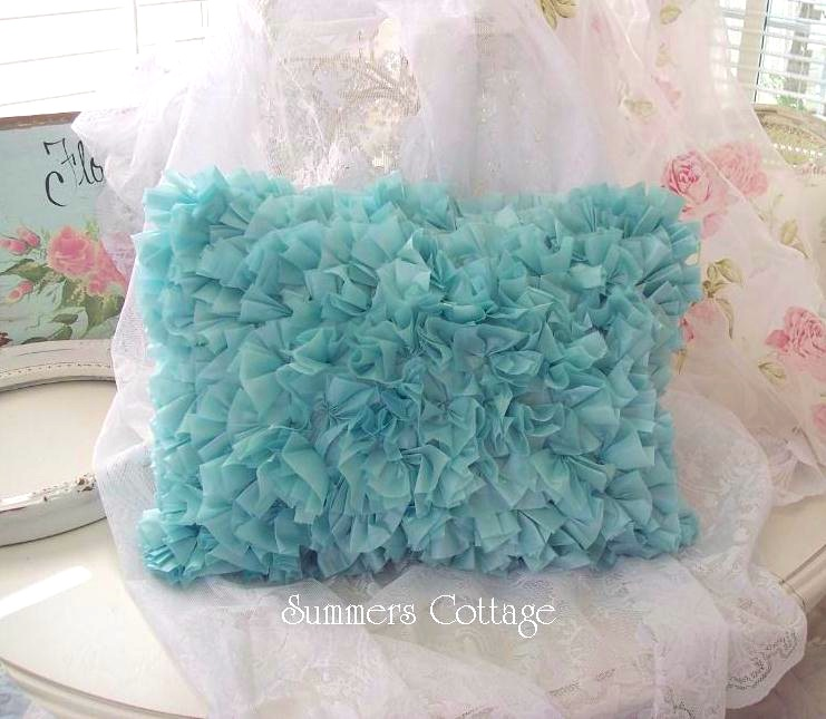 Aqua Teal Ruffled Pillow