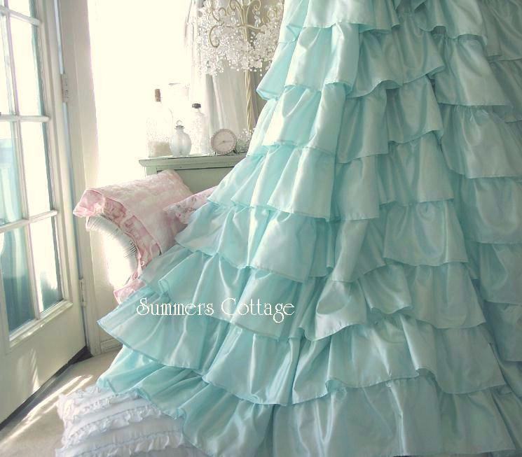 Shabby Chic Beach Cottage Shower Curtains White Ruffles Pink Roses .