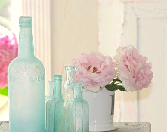 Aqua Vintage Glass Bottles