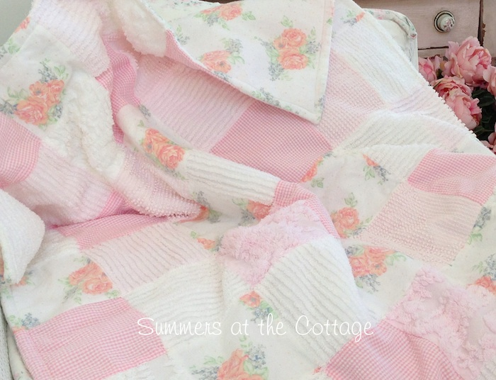 Vintage Chenille Pink Roses Throw Quilt Blanket