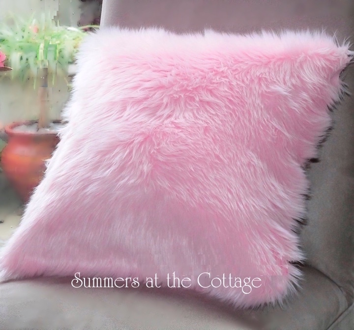 SUMMER BEDDING PILLOWS COTTAGE LIVING ROMANTIC HOME CHIC  : baby pink fur pillow from www.summersatthecottage.com size 720 x 671 jpeg 144kB